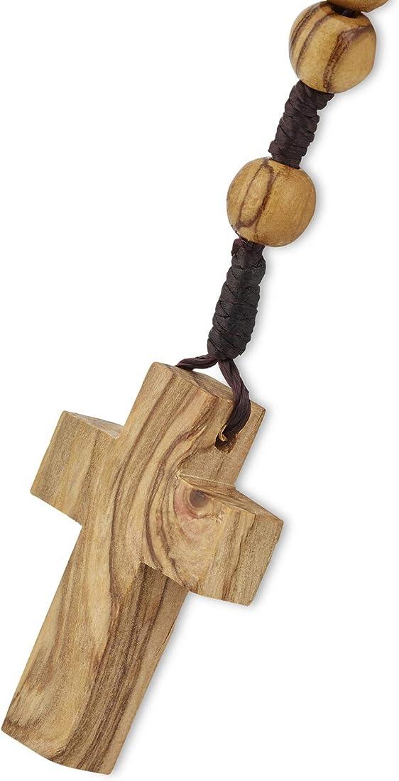 Rosario crocefisso in legno di ulivo da 8 mm, realizzato a betlemme all`interno di un sacchetto di cotone OWR001