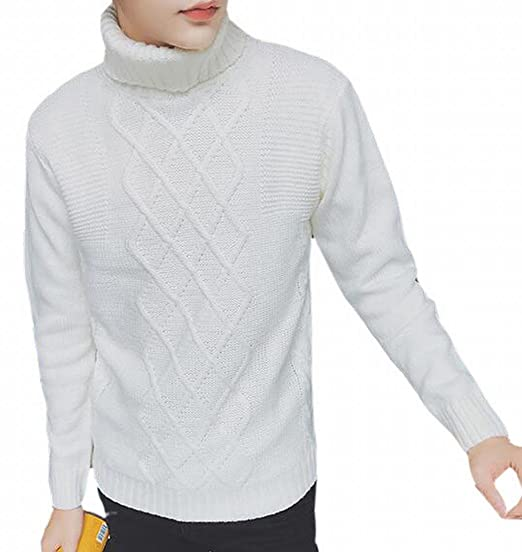 4c28f78ed624 Generic Mens Casual Pullover Turtleneck Cable Knit Jumper Sweaters ...