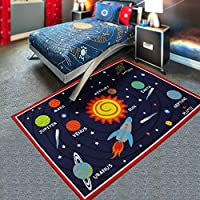 HUAHOO Kids Rug Educational Learning Carpet Galaxy Planets Stars Blue Children