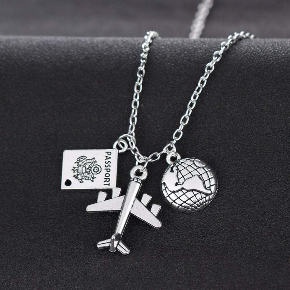 SWAOOS Best Friends Wanderlust Travelers Necklaces Gift Globe Earth Aircraft Plane Passport Pendant Traveling The World Necklace Collar