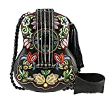 MARY FRANCES Folklore Embroidered Guitar Cross-Body Handbag