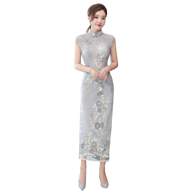 Shanghai Story Short Sleeve Lace Qipao Long Cheongsam Chinese Style Dress FMS2018020181