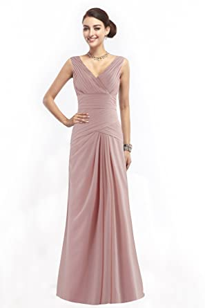 Cocomelody Womens Elegant V Neck Floor Length Prom Dresses 10 pale pink