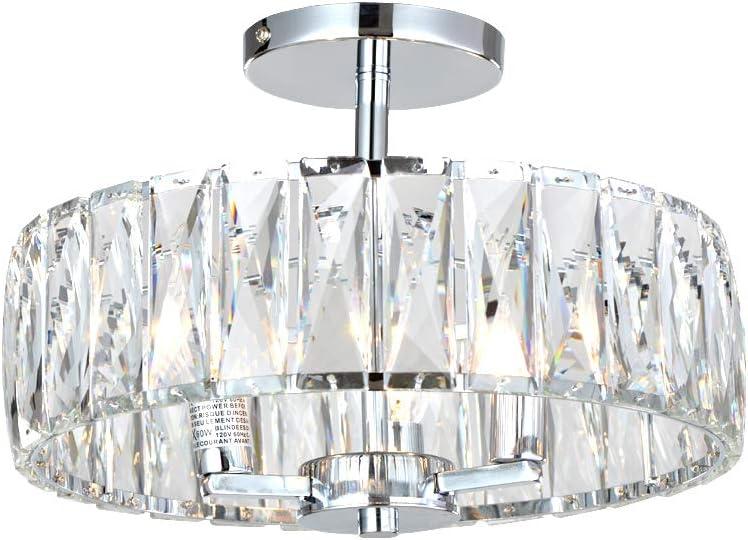Pink Chandelier Drum Flush Mount Chandelier Crystal Ceiling Light Fixture 3 Light Bedroom Chandelier