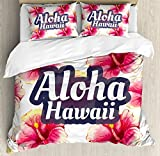 Hawaiian Decorations Duvet Cover Set Queen Size by Ambesonne, Aloha Hawaii Tropical Flowers Floral Ornament with Wildflowers Classic Design, Decorative 3 Piece Bedding Set with 2 Pillow Shams