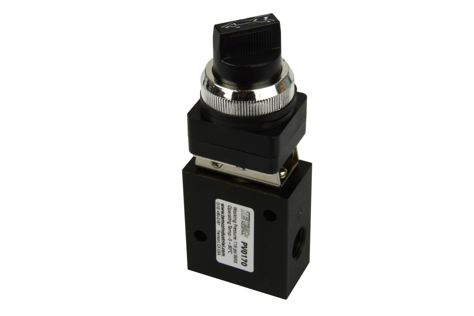 Latching Rotary Knob Normally Closed Pneumatic Air Control Valve 3 Port 3 Way 2 Position 1/4'' NPT
