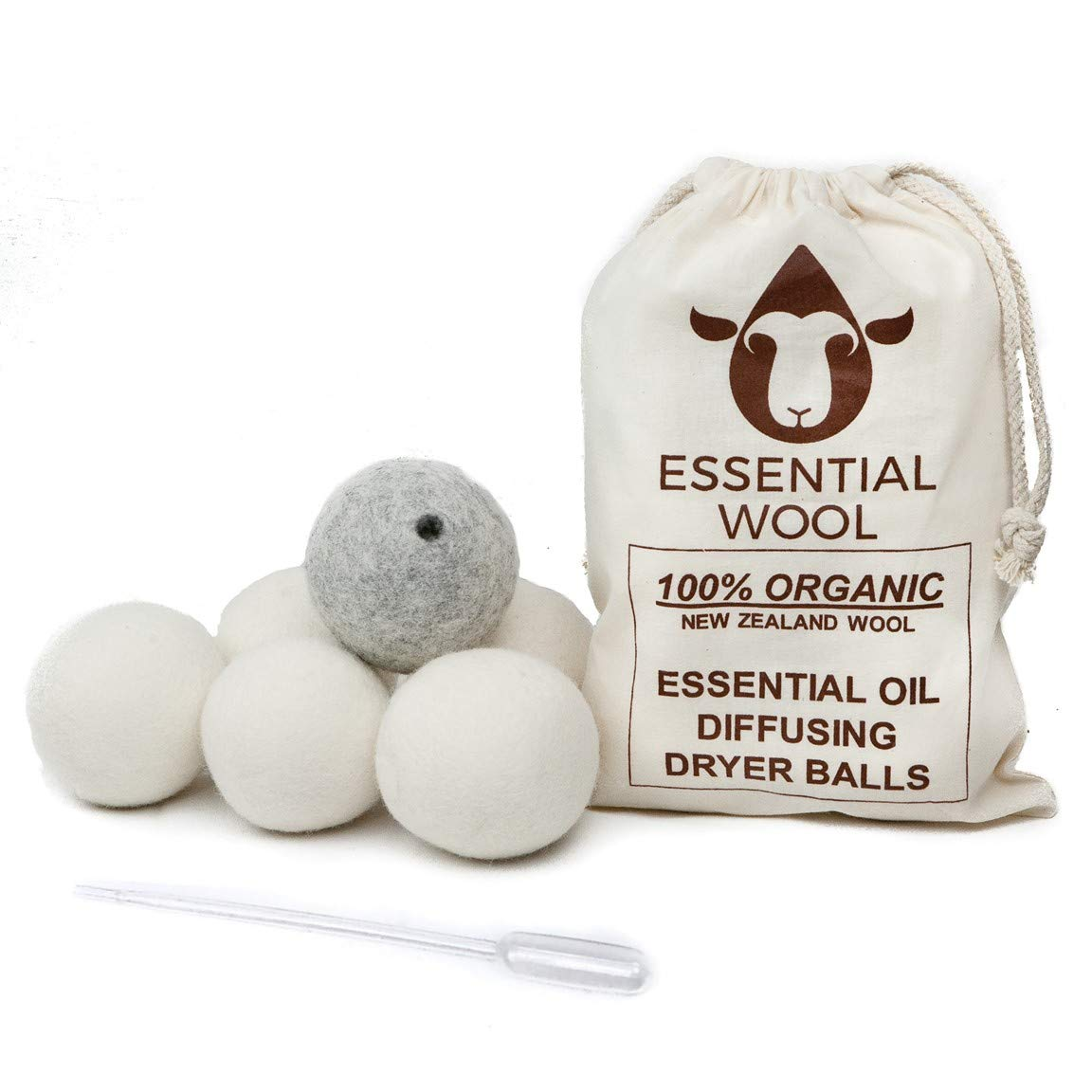 Wool Dryer Balls - Made for Essential Oils 6-Pack, Organic Reusable Natural Aromatherapy Diffuser Clothes Laundry Fabric Softener by Essential Wool