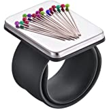 Magnetic Wrist Sewing Pincushion, Magnetic Pin Holder with Wristband for Sewing+ Silicone Black and Red Wristband