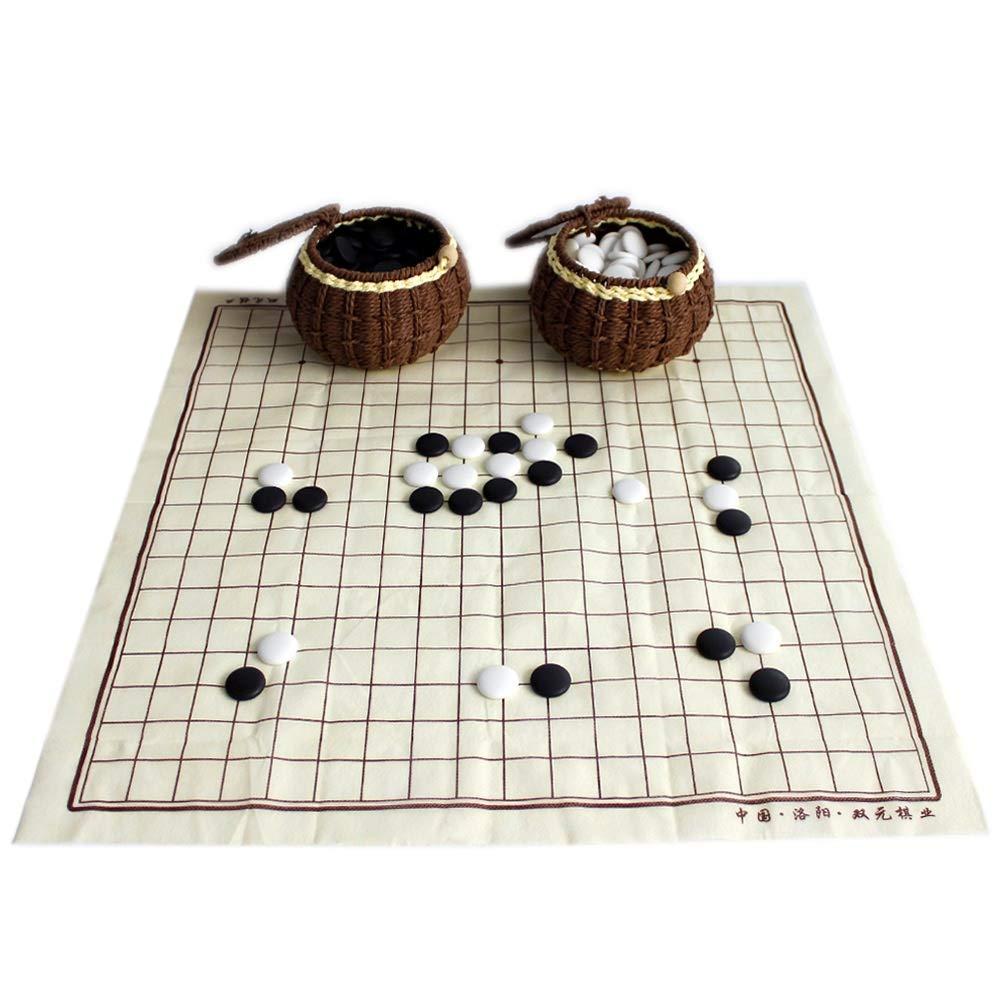 FunnyGoo Go Chess Spielset mit 361 erlesenen Keramiksteinen in Handgemachten Geflochtenen Braiddosen + Go Game Board
