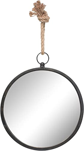 Stonebriar Round Metal Mirror for Wall with Nautical Rope Hanging Loop, MEDIUM, Charcoal