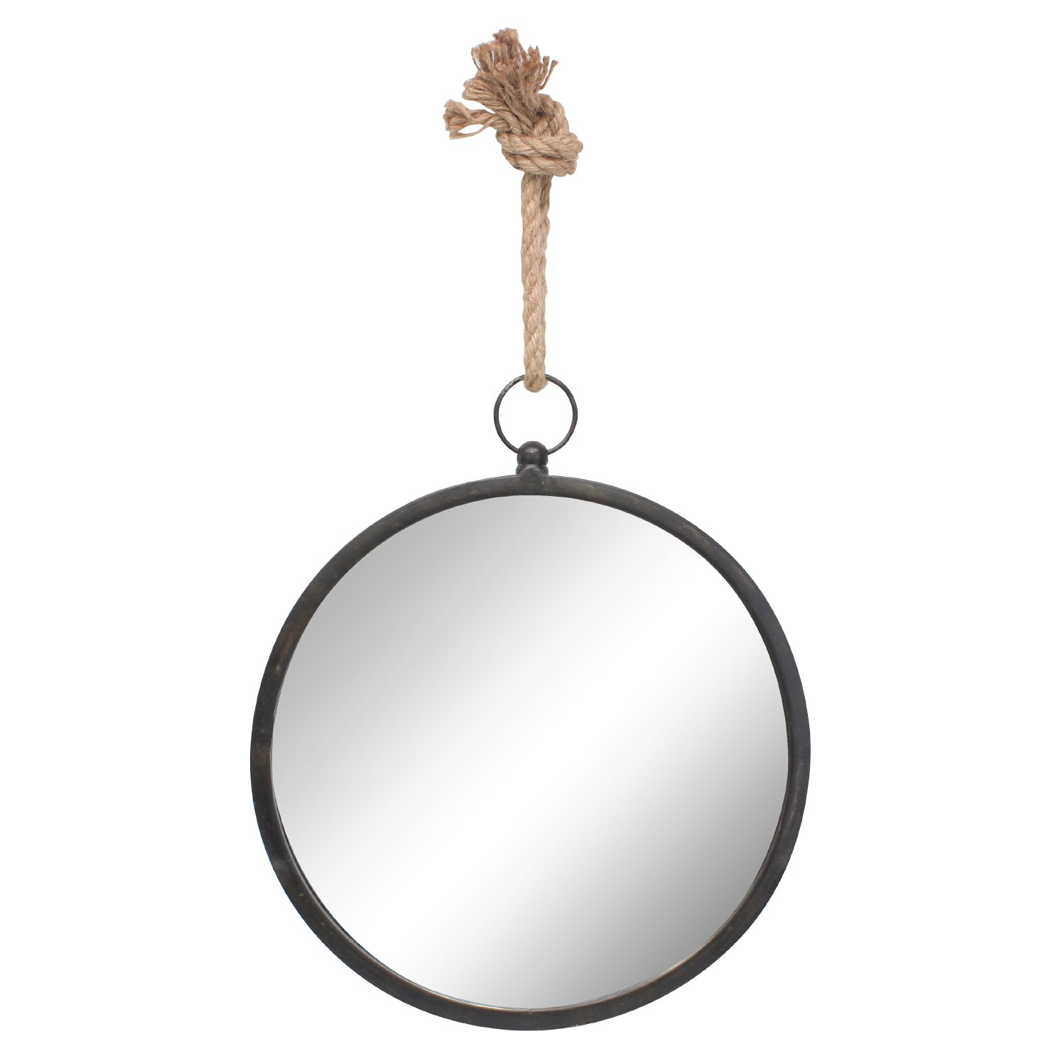 Stonebriar Round Decorative Mirror with Metal Frame & Rope Hanging Loop for Wall, Nautical Home Décor, Medium