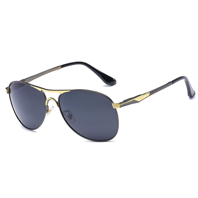 cf309970aa849 VOLCHIEN Grey Polarized Aviator Metal Sunglasses UV400 Protection For Men  Women Spring Hinge VC1015 (Grey