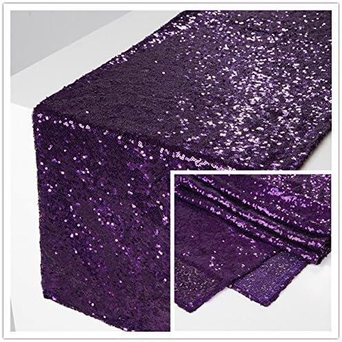 Zdada Purple 12 x108 Dining Room Sequin Table Runner-5 Packed
