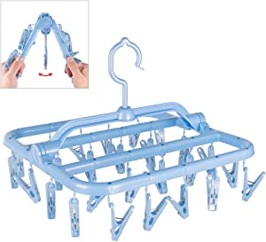 Annaklin Foldable Clip Hangers with 26 Drying Clips, Underwear Hanger with Clips, Plastic Laundry Clip and Drip Drying Hanger for Socks, Bras, Lingerie, Clothes, Sturdy, Blue