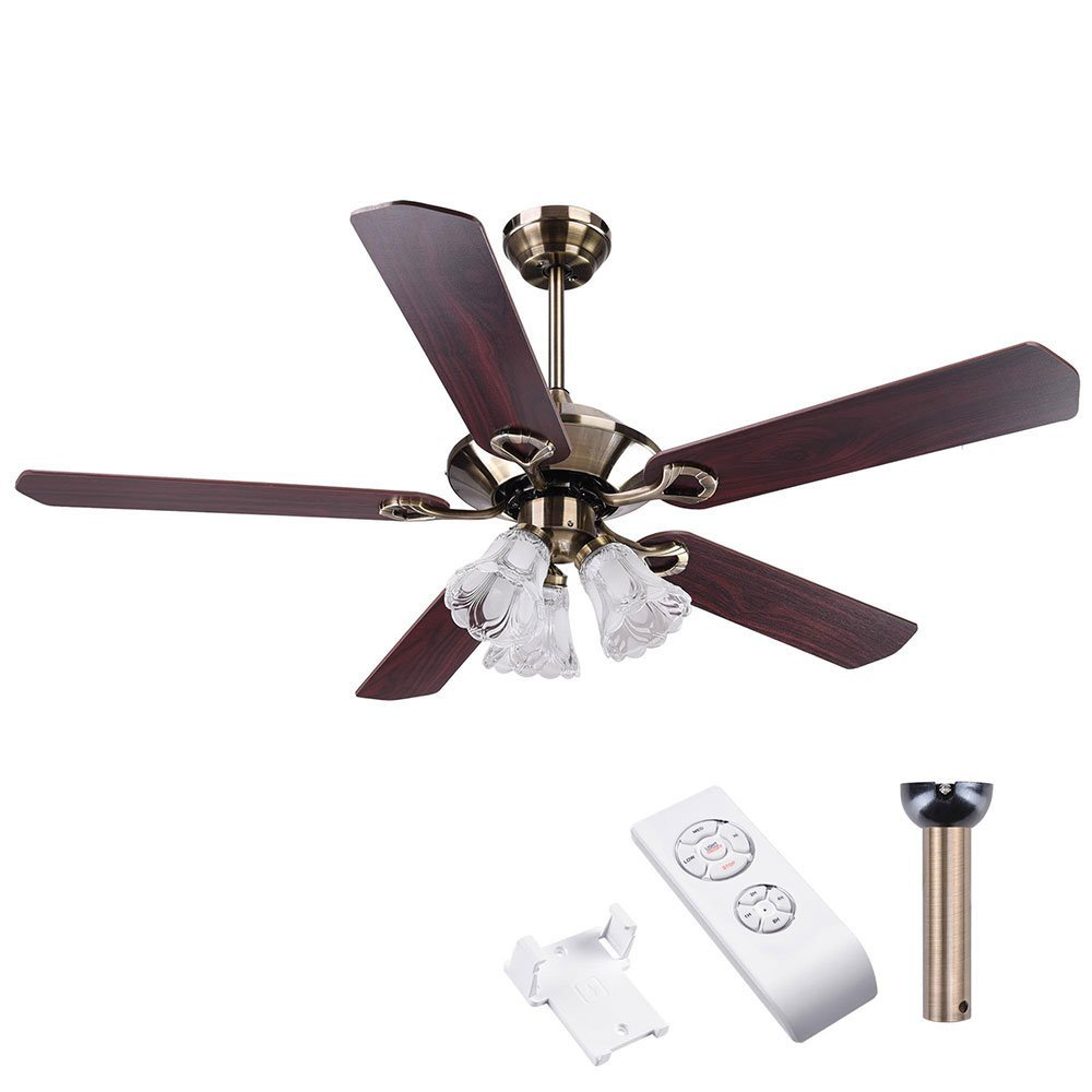 Yescom 52'' 5 Blades Ceiling Fan with Light Kit Frosted Glass Downrod Antique Bronze Reversible Remote Control