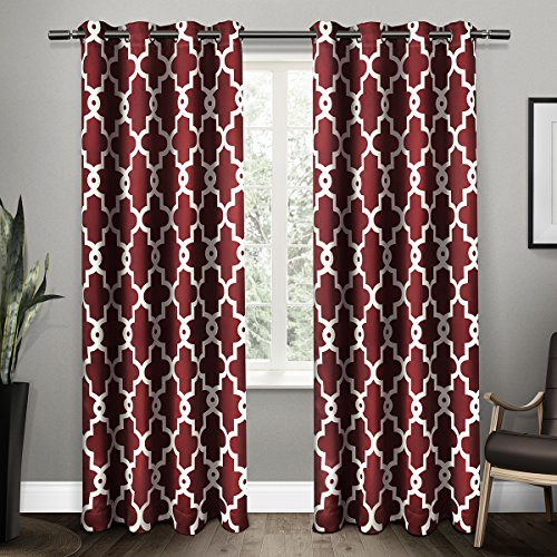 Exclusive Home Curtains Ironwork Sateen Woven Blackout Thermal Grommet Top Window Curtain Panel Pair, Burgundy, 52x84