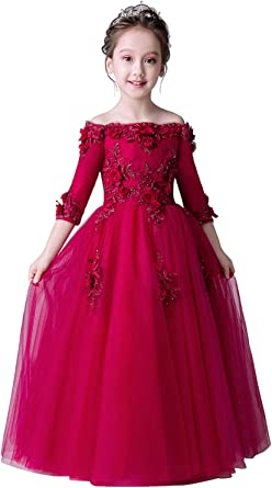 Amazon Com Misshow Flower Girls Off The Shoulder Pageant Dress Birthday Party Prom Ball Gown Clothing