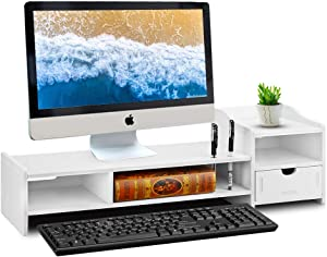 "Monitor Stand Riser, Computer Laptop Riser Shelf with Organizer Drawer (White) (26""L x 8""W x 7""H)"