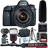 Canon EOS 6D Mark II 26.2MP Full-Frame DSLR Camera w/24-105mm IS II USM Lens (1897C009) + Tascam DSLR Audio Recorder w/Shotgun Microphone + 128GB Memory Card + Power Zoom Flash + Camera Bag + More