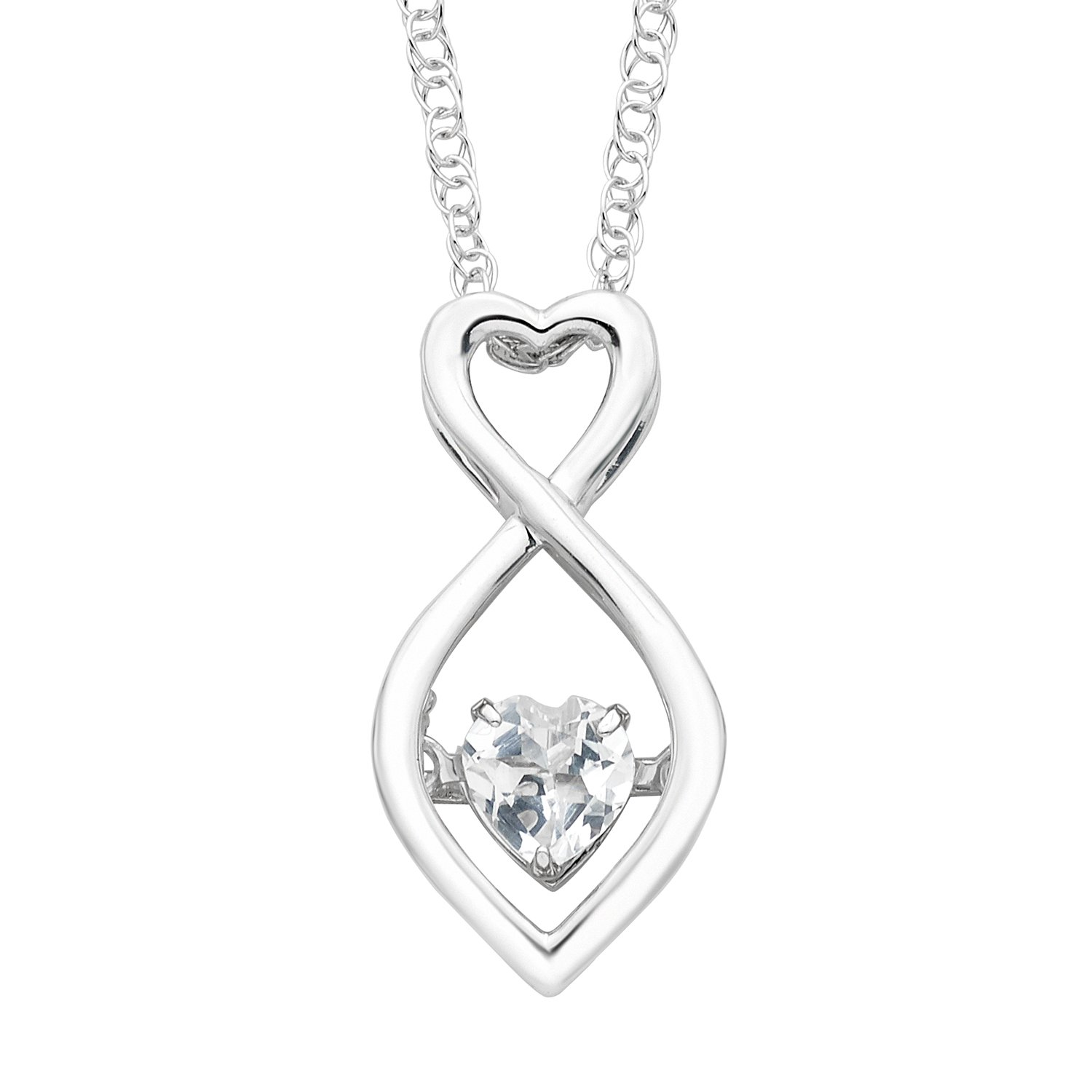 Boston Bay Diamonds 925 Sterling Silver White Topaz Birthstone Pendant Necklace, 18''