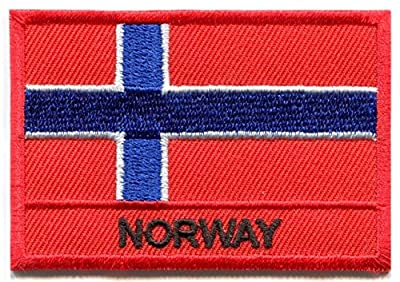 Nation Country Flags Patches Norway Emblem Logo 2 x 2.8 Inches Sew On Embroidered Patches National Scandinavia Decorative Applique Embroidery Designs For t shirt Jersey Hoodie Hat Backpacks etc