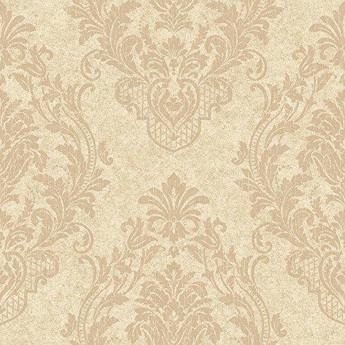 York Wallcoverings CR2806 Impressions Distressed Damask Spot Wallpaper, Light Gold/Tan (Distressed Damask Wallpaper)