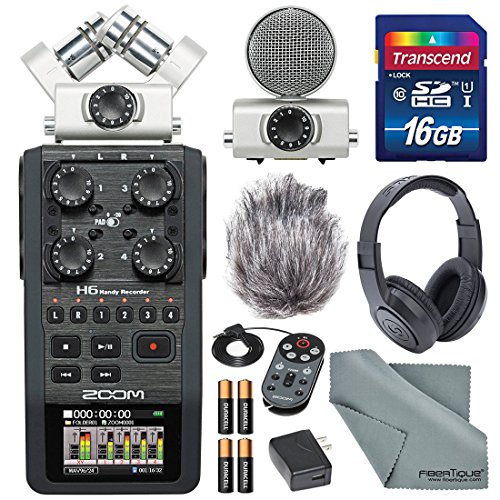Zoom H6 Handy Recorder with Interchangeable Microphone System with Deluxe Accessory Bundle from Zoom