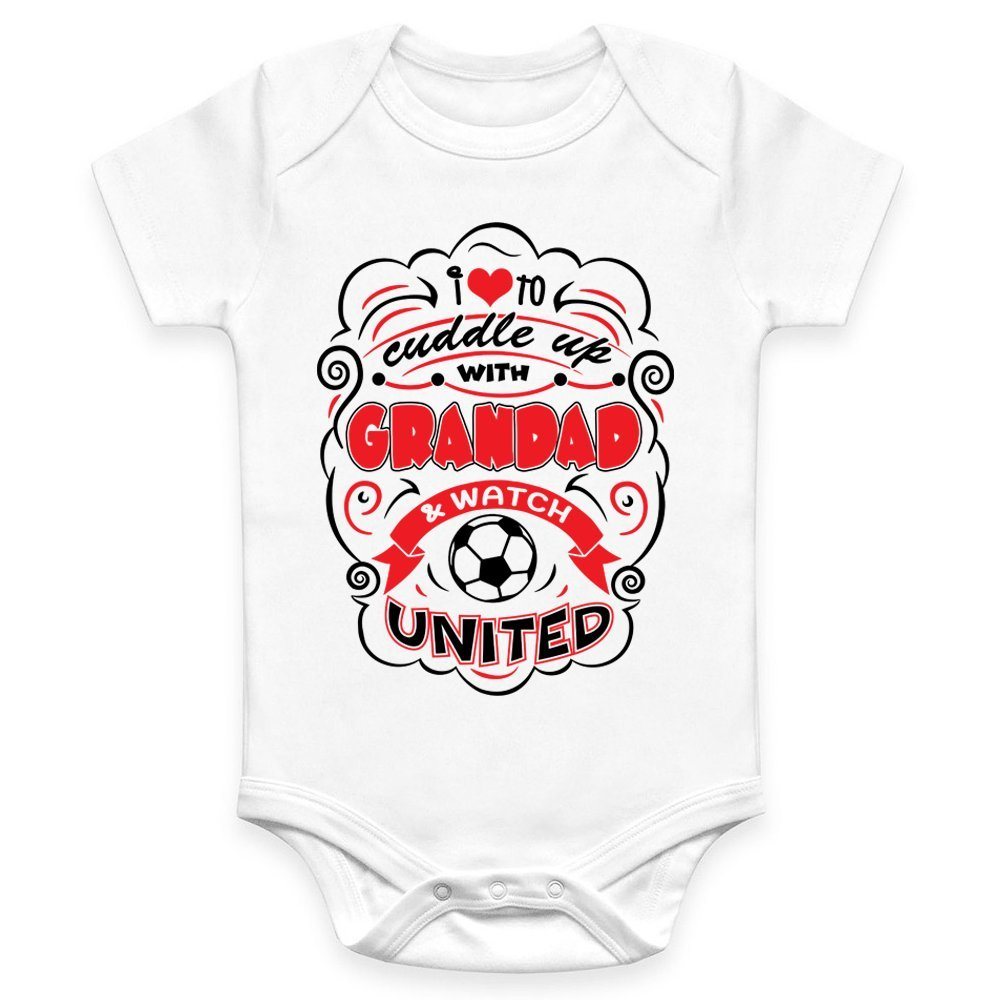 Coco Rascal Baby Boy Girl Cuddle Grandad Manchester Footie Man United MUFC Football White Bodysuit Grow Vest (0-18 Months)