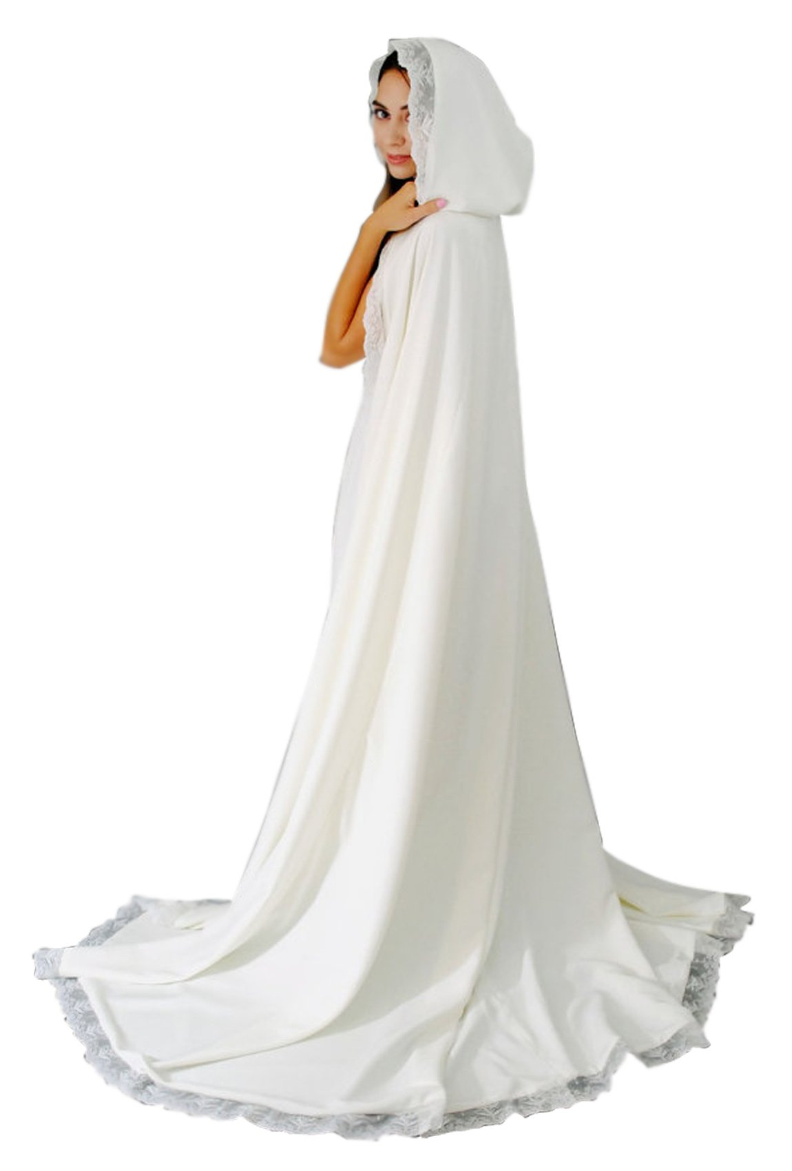 Women's Long Wedding Cape Hooded Cloak for Bride Lace Edge (White)