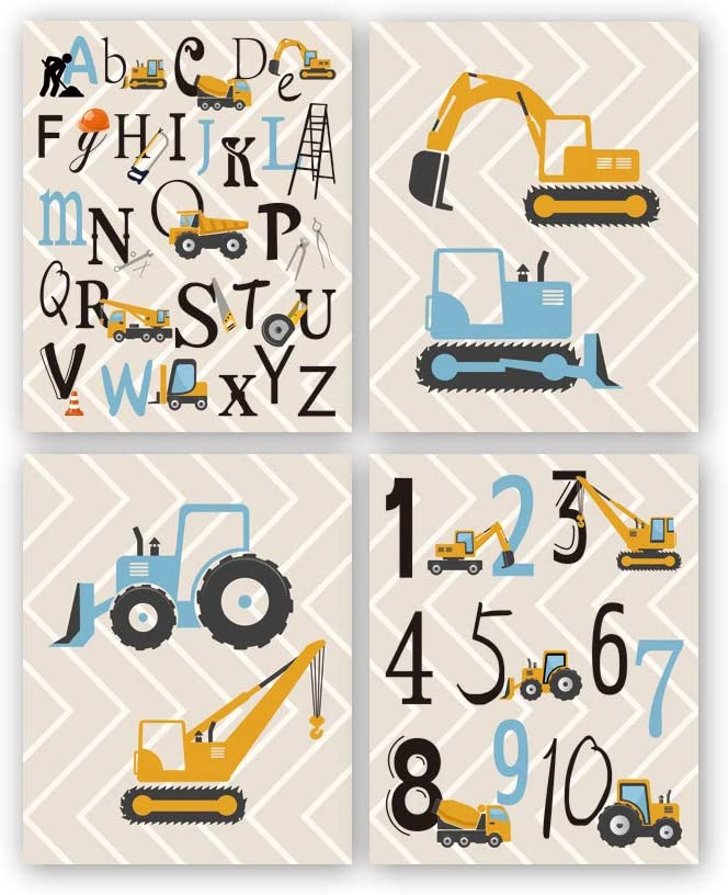 "Cartoon Construction Art Print, Set Of 4 (8X10"") Trucks,digger,Transport Vehicle canvas Poster,Alphabet Numbers Art painting Set,Boy Bedroom Classroom Decor,Unframed"