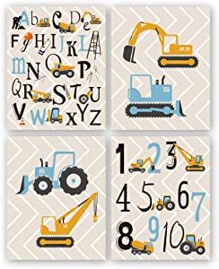 "Cartoon Construction Art Print, Set Of 4 (8X10"") Trucks,digger,Transport Vehicle canvas Poster,Alphabet Numbers Art painting Set,Boy Bedroom Classroom Decor,Unframed"