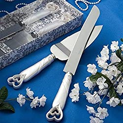 Interlocking Heart Wedding Cake Knife & Server Set, 2