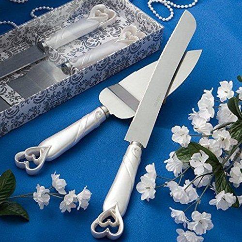 Heart Serving Set - Interlocking Heart Wedding Cake Knife & Server Set, 2
