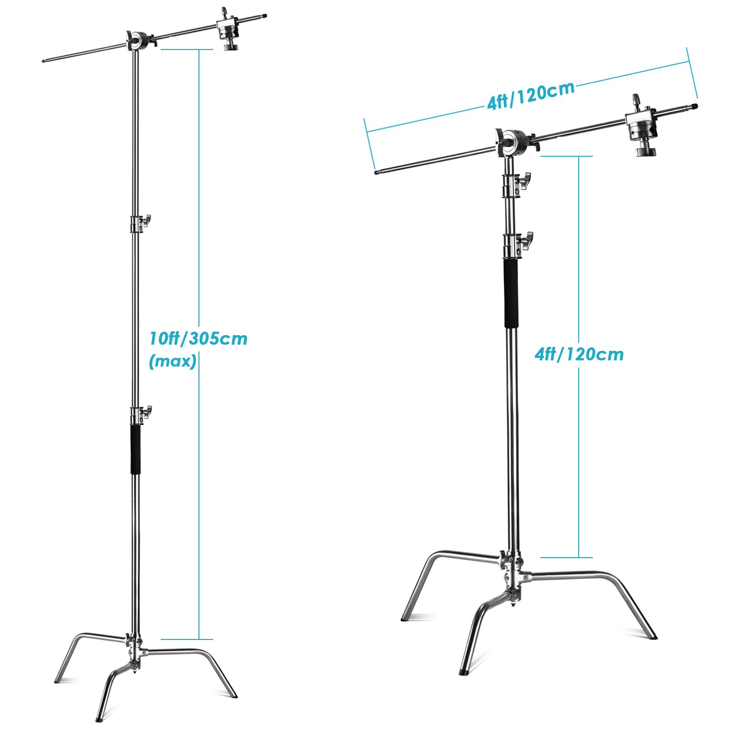 Neewer 2 Pieces Heavy Duty Max Height 10 feet/3 meters Adjustable Light Stand with 4 feet/1.2 meters Holding Arm and Grip Head Kit for Studio Video Reflector,Monolight and Other Photographic Equipment by Neewer (Image #2)