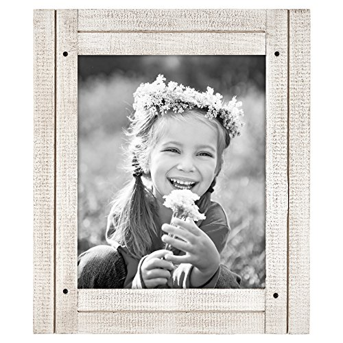 Wood Frame Distressed (Americanflat 8x10 Aspen White Distressed Wood Frame - Made to Display 8x10 Photos - Ready To Hang or Stand With Built in Easel)
