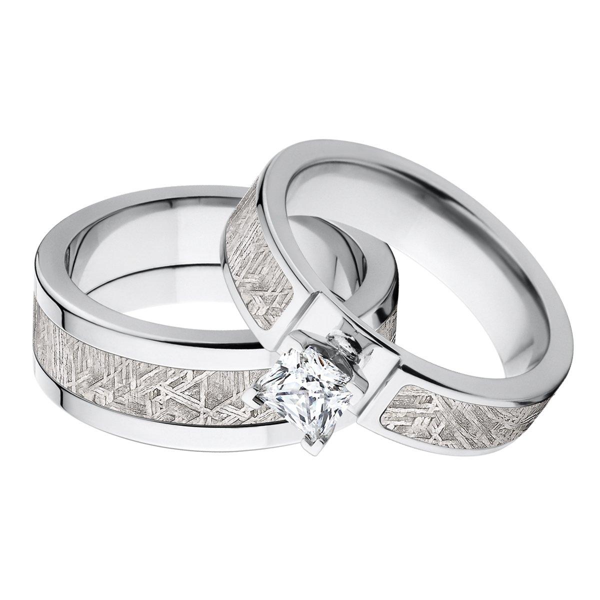 New His And Her Matching Meteorite Wedding Ring Set Rings Amazon: Meteorite Wedding Bands Cheap At Reisefeber.org
