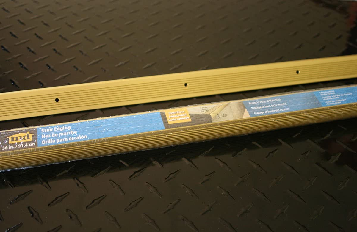 Satin Brass M-D Building Products 79020 M-D Fluted Stair Edging W X 36 in L X 1-1//8 in H Pack of 1