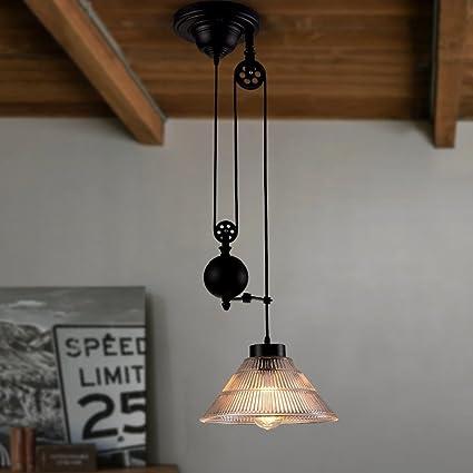 YCLED Lámparas de polea Vintage, Luces de Techo retráctiles ...