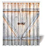 InterestPrint Farmhouse Wooden Door Shower Curtain Brown, Old Wooden Garage Door American Style Decorations For Bathroom Print Vintage Rustic Theme Antiqued Look Polyester Bronze Charcoal