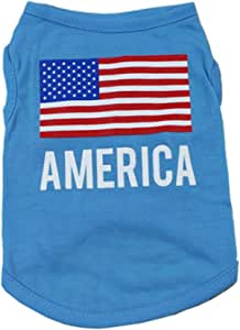 Alroman Dogs American Flag Shirts Blue Vest Stars and Stripes Clothing for Dogs Cats Tee XL Dog Vacation Vest Male Dog T-Shirt Puppy Summer Clothes Boy Polyester Shirt Dog Cat Pet Small Apparel