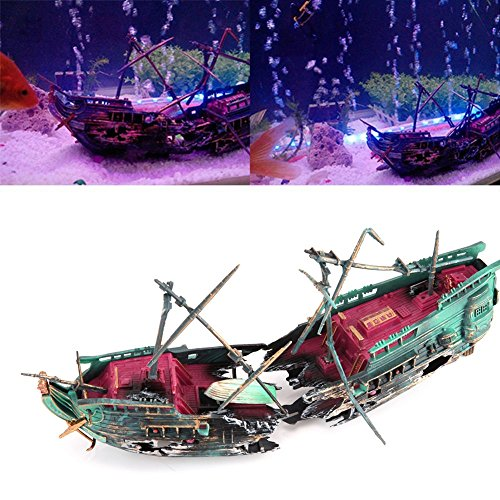 Aquarium Decorations Wreck Sunk Ship Aquarium Plactic Boat Air Split Shipwreck Fish Tank Decoration 9.36'' 4.68'' Large (Model Bridge Position)
