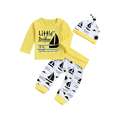 e86dea832 PRINCER Newborn Baby Boys Clothes,2PC Casual Pattern Printed Long Sleeves  Pullover Tops and Printed Trousers Hat Autumn Wintern Round Neck Basic Tee  Shirt ...