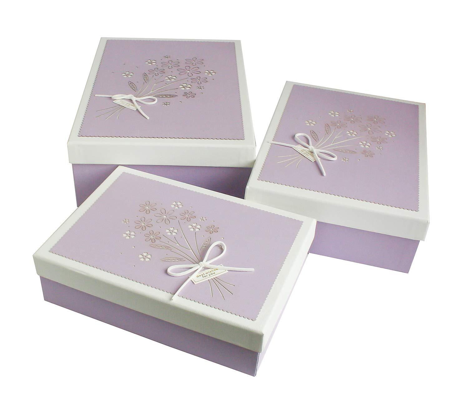 Emartbuy Set di 3 Lusso Rigido Rettangolo Confezione Regalo di Presentazione, Scatola Rosa con Coperchio Bianco/Rosa, Interno Color Cioccolato e Disegno Floreale Decorativo