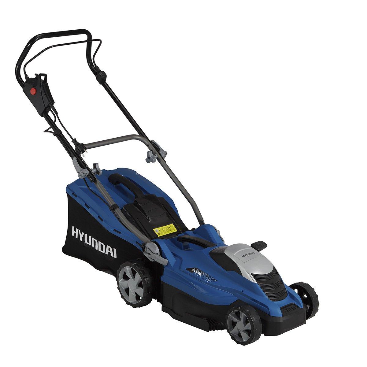 HYUNDAI Elektro-Rasenm/äher LM3601E 1600W, Schnittbreite 36 cm, 45L Fangkorb, 5-fache H/öhenverstellung 20-70 mm, Elektro-M/äher
