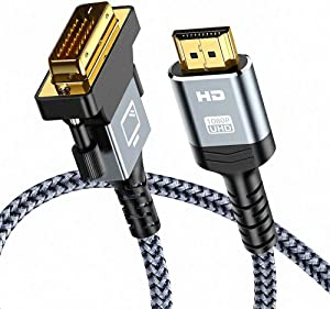 HDMI to DVI Cable (3 Feet) Bi-Directional Nylon Braid Support 1080P Full DVI-D Male to HDMI Male High Speed Adapter Cable Gold Plated for PS4, PS3 HDMI Male A to DVI-D