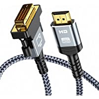 HDMI to DVI Cable (6 Feet) Bi-Directional Nylon Braid Support 1080P Full DVI-D Male to HDMI Male High Speed Adapter Cable Gold Plated for PS4, PS3,HDMI Male A to DVI-D