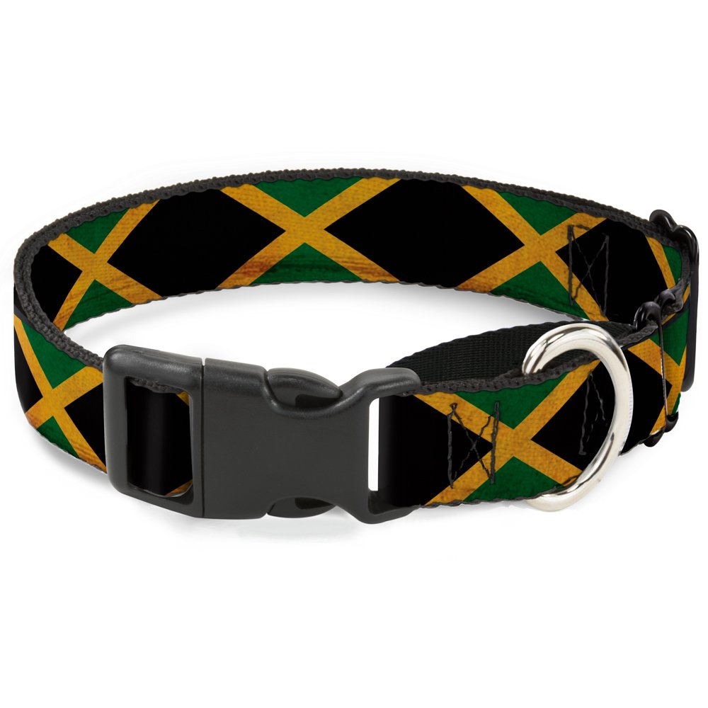 Buckle-Down MGC-W31009-L Jamaica Flags Vintage Black Martingale Dog Collar, Large