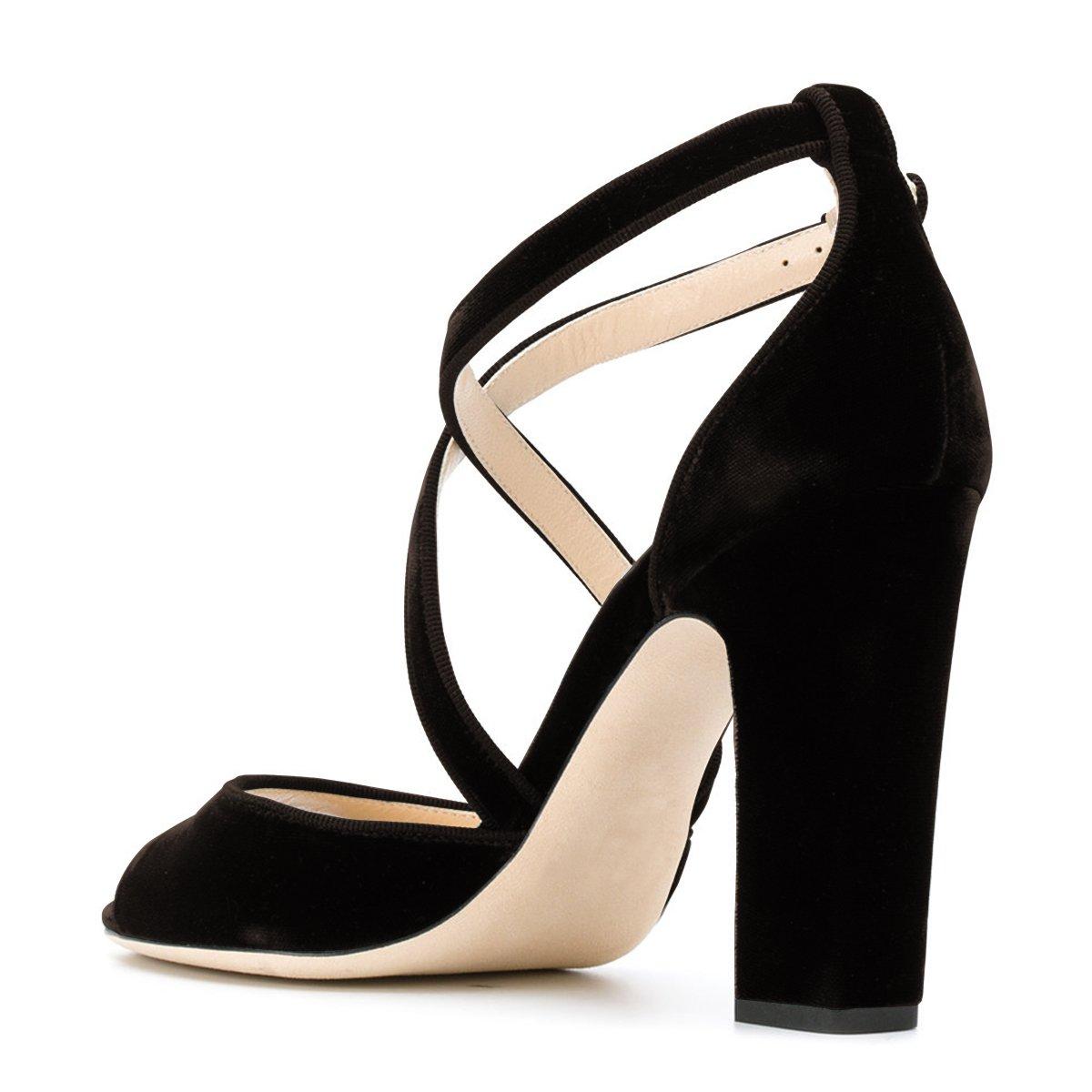 c02881a1ed3c FSJ Women Elegant Peep Toe Sandals Chunky High Heel Pumps Cross Strap  Velvet Dress Shoes Size 4-15 US