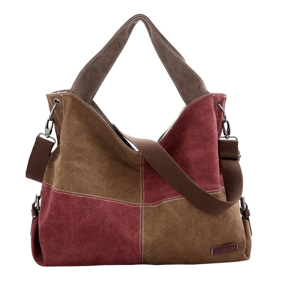 Top Shop Womens Canvas Handbags Shoulder Messenger Bags Hobo Brown and Purple Totes Satchels by TOP SHOP BAG