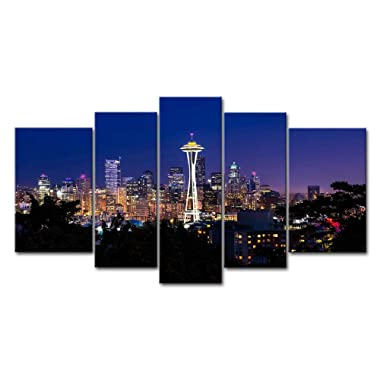 So Crazy Art 5 Piece Wall Art Painting Seattle High Building At Dusk Prints On Canvas The Picture City Pictures Oil For Home Modern Decoration Print Decor For Girls Room